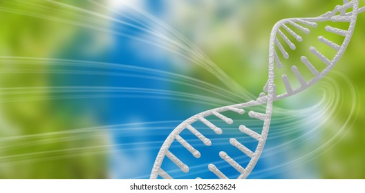 3d Image of dna helix against green background with shiny lines