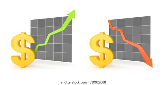 3d image dollar and graph with white background.