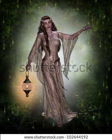 3 d image elven female character holding stock illustration