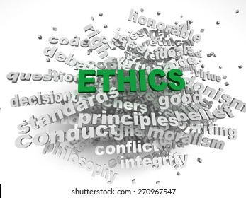 3d image Ethics  issues concept word cloud background