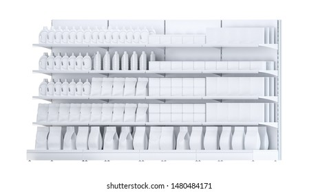 3D image of four Supermarket Shelving Showcase Displays with Shelves with packs staying in side isometric view in the row on isolated white background. It can be easily seamless multiplied in one row
