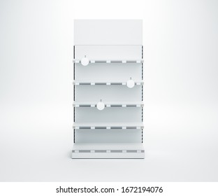 3D image of front view white blank showcase display shelves with topper, wobbler, price tags staying on isolated white background