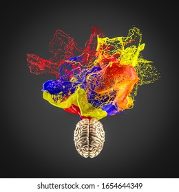 3d image of a gold colored human brain and an explosion of color. concept of creativity and artistic sense. Nobody around.