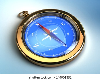 3d image of golden compass on blue background with light
