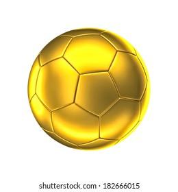 3d image of golden soccer ball