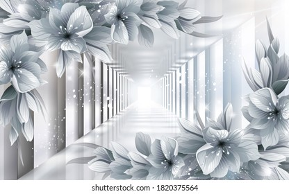3d image gray tunnel with flowers