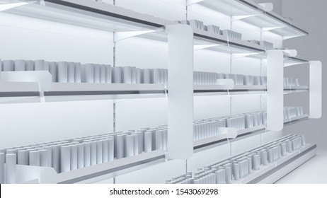 3D image of grocery shelfs mockup with simple objects of products, stoppers, woblers, shelf talkers and light.