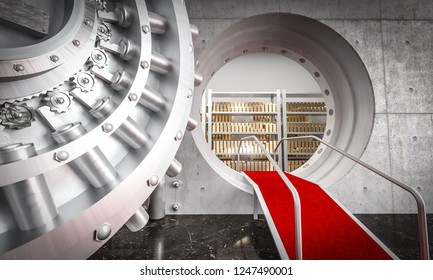 3d image of huge bank vault and gold ingot with red carpet