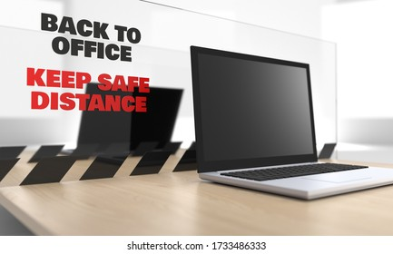 3d image of a laptop on a desk with plexiglass protective sheet at workplace, screen for keeping safe from colleagues, coworkers in the office, acrylic anti virus sneeze guard, social distancing