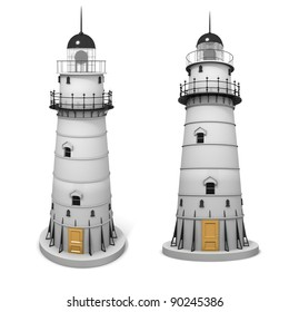 3D image of lighthouse, isolated on white.