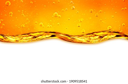 3D image. Liquid flows yellow, for the project, oil, honey, beer or other variants on white background, area for text. Oil background.