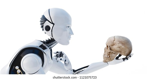 3D image of a metal robot with shadow isolated on a white background. It's a robot with a human skull in his hand. 3D rendering of humanoid robot thinking. Reverse to artificial intelligence.render