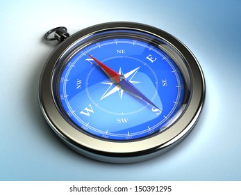 3d image of modern compass on blue background with light