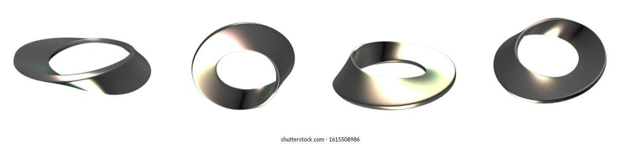 3D Image of Moebius Strip Surface - Parametric Solid Geometry - Mathematical Abstract Design - Topology Mobius Band Element