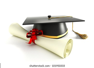 3d image of mortar board with degree against white background