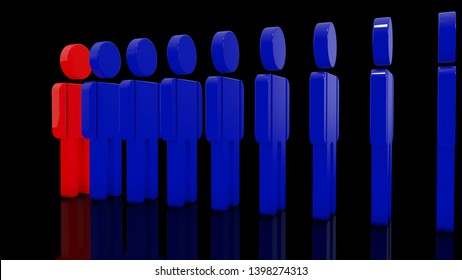 3D image of a number of human figures and one individual, different person. The idea of a leader, commander, team leader, successful entrepreneur. 3D rendering.