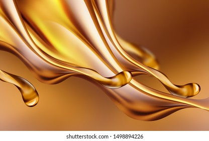 3D image of oil splashes close-up on a light background