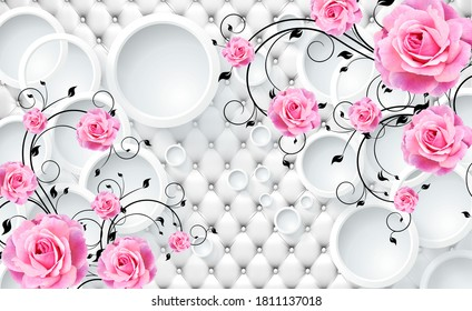 3d image of pink roses on a white background