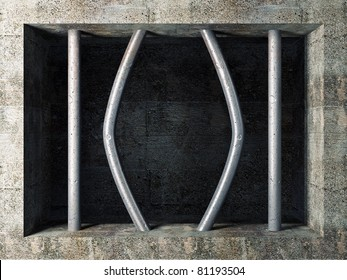 3d image of prison windows wirh broken bar