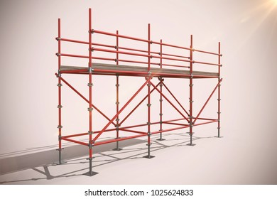 3d image of red metal structure with shadow against neutral background