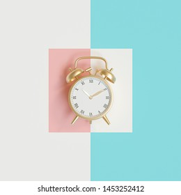 3d image render of gold color alarm clock on different colored background in flat lay style.