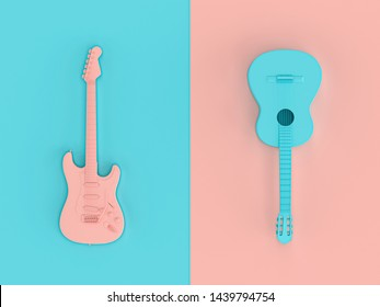 3d image render in style flat lay of two electric guitars on two-color background.