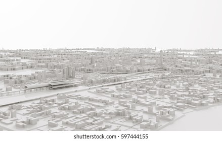 3D image render,Aerial view of cityscape background