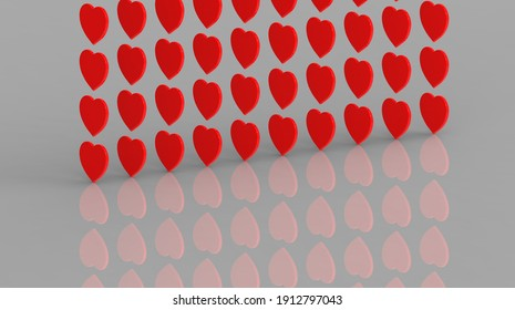 3D image. 3d rendering. red hearts are located vertically one above the other. reflection of hearts. Valentine's Day