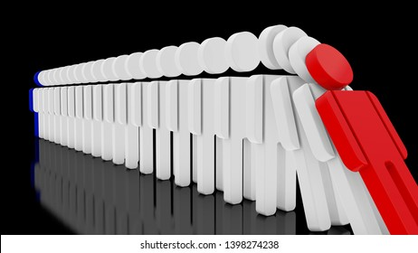 3D image of a series of human figures that fall one by one, Domino effect. The idea of addiction, crisis and health. 3D rendering on a black background.