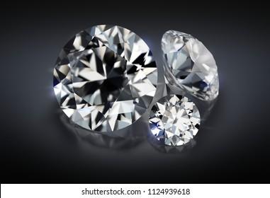 3d image. Three diamonds on a dark reflective background.
