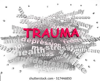 3d image Trauma word cloud concept