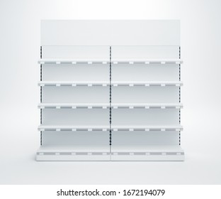3D image of Two Supermarket Showcase Displays with Shelves, shelf talkers with price tags and toppers staying in the row on isolated background