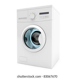 3d image of washing machine on white background