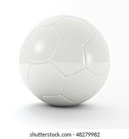 3d image of white classic soccer ball background