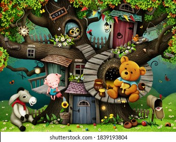3D image,Bright fairytale illustration based on  tale of Winnie  Pooh and his friends.