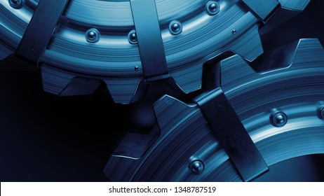 3d industrial background with metal cogwheels. Abstract metal illustration.