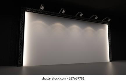 3D interior backdrop stage event led tv light day staging render illustration