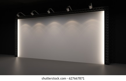 3D interior backdrop stage event led tv light day staging render illustration