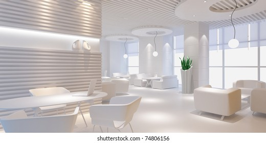 3d interior design blank room with white furniture