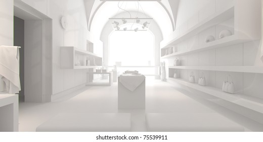 3d interior design blank shop with white furniture