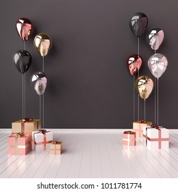 3D interior illustration with black, golden, silver and rose gold balloons and gift boxes. Glossy metallic  composition with empty space for birthday, party or other promotion social media banners.