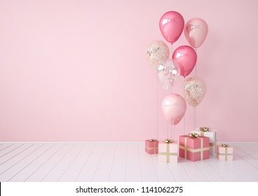 3D interior illustration with pink, golden,  and sequins balloons, gift boxes. Pastel metallic composition with empty space for birthday, party or other promotion social media banners, text.