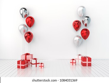 3D interior illustration with white, red, silver, transperent balloons and gift boxes. Glossy metallic composition with empty space for birthday, party or other promotion social media banners.