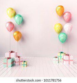 3D interior illustration with white, yellow, blue and pink balloons and gift boxes. Glossy composition with empty space for birthday, easter, party or other promotion social media banners.