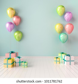 3D interior illustration with yellow, blue and pink balloons and gift boxes. Glossy composition with empty space for birthday, easter, party or other promotion social media banners.