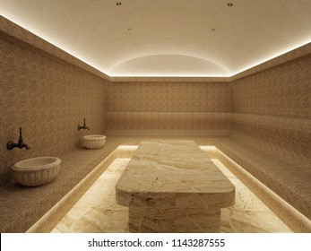 3d Interior of luxury turkish bath hammam. Traditional Turkish bathroom. Classic Turkish sauna hammam
