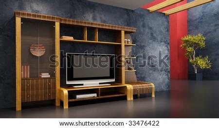 3d Interior With Modern Bookshelf TV
