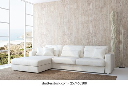 3D interior. Modern living-room interior with white couch near empty beige wall. Photo behind the window was made by me.