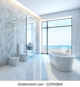 3d interior modern luxurious bathroom in house on a beach