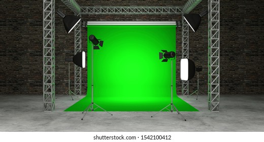 3D Interior of Modern Studio with Green Screen and Equipment. 3D Rendering